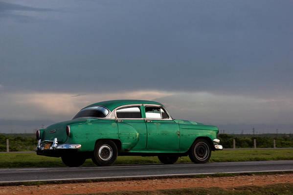 Cuban Car At Sunset; Cuban; Cuba; Car; Sunset; Car; Cars; Green; Motorsport Art; Motorsport; Luxury; Oldtimer; Youngtimer; Happiness; Photography & Digital Art; Photography; Photo; Photo Art; Art; Digital Art; 2bhappy4ever; 2bhappy4ever.com; 2bhappy4evercom; Tobehappyforever; Art Print featuring the digital art Cuban Car at Sunset by Erron