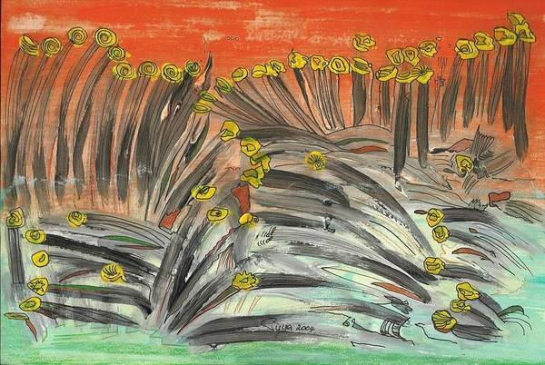 Ears Of Corn Art Print featuring the mixed media Curving Grass In The Wind by Michael Puya