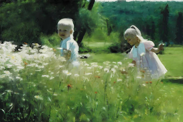 Daisy Art Print featuring the digital art Daisy Field of Innocents by Elzire S