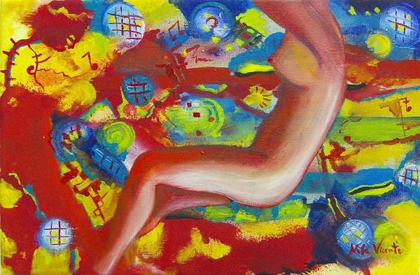 Surreal Woman Art Print featuring the painting Dancing by Nela Vicente