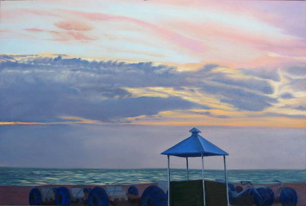 Sunset Art Print featuring the painting Day Is Done by Lea Novak