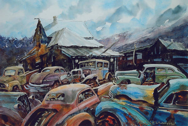 Cars Art Print featuring the painting Derelicts at Hillsboro by Ron Morrison
