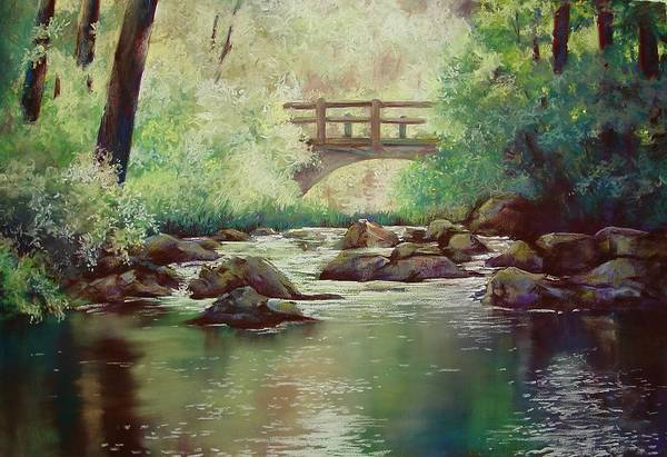 Landscape Art Print featuring the pastel Early Morning at Gulpha Gorge by Marlene Gremillion