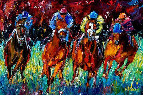 Horse Race Art Print featuring the painting Endurance by Debra Hurd
