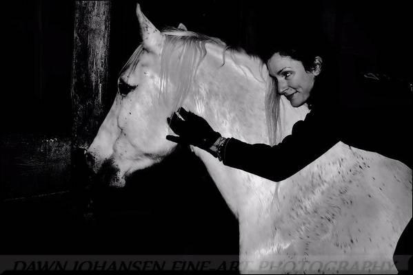 White Horse Art Print featuring the digital art Erin and Mikey by Dawn Johansen
