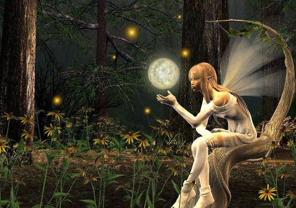 Fairy Fae Fairies Magic Fantasy Art Print featuring the digital art Fairy Light by Lisa Roy