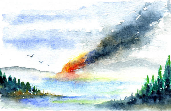Fire Art Print featuring the painting Fire in the Mountains by John D Benson