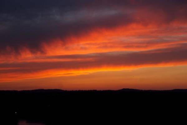 Red Sunset Art Print featuring the photograph Firey Skies by Toni Berry