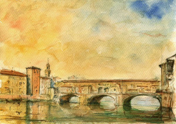 Ponte Vecchio Art Art Print featuring the painting Florence Bridge Ponte Vecchio by Juan Bosco