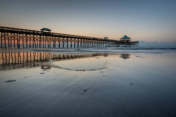 Folly Beach Pier Art Print featuring the photograph Folly Beach South Carolina Pier by Rick Dunnuck