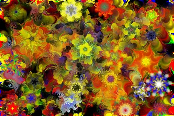 Digital Painting Art Print featuring the digital art Fractal Floral Study 10-27-09 by David Lane