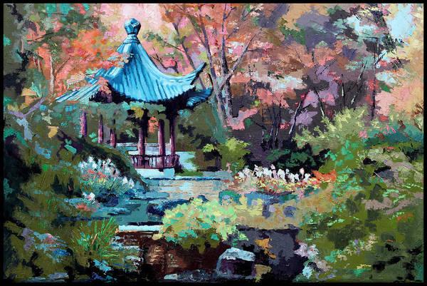 Garden Art Print featuring the painting Friendship Garden by John Lautermilch