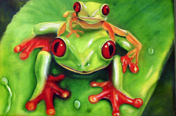 Red Eyed Tree Frog Art Print featuring the painting Frog Rodeo by Darlene Green