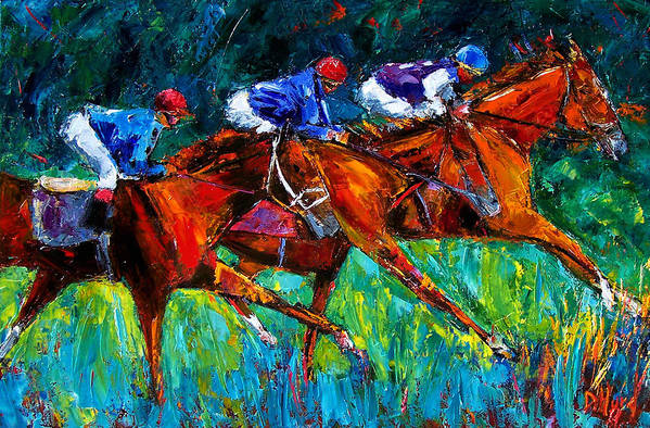 Horse Race Art Print featuring the painting Full Speed by Debra Hurd