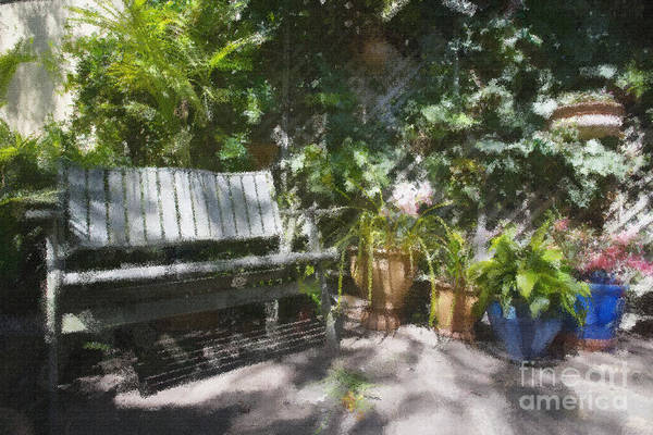Garden Bench Flowers Impressionism Art Print featuring the photograph Garden bench by Sheila Smart Fine Art Photography
