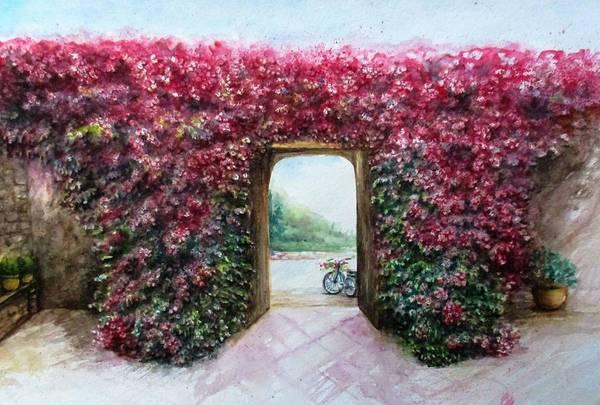 Bike Art Print featuring the painting Garden Rose by Natalja Picugina