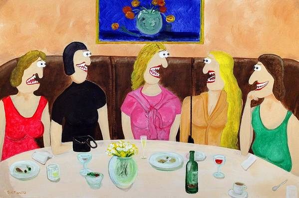 Funism Paintings Art Print featuring the painting Girls Night Out by Sal Marino