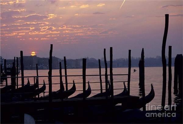 Venice Art Print featuring the photograph Gondolas In Venice At Sunrise by Michael Henderson