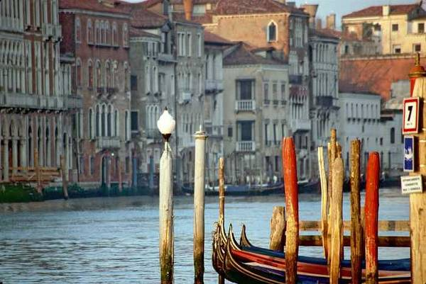 Venice Art Print featuring the photograph Grand Canal in Venice with Light on Pole by Michael Henderson