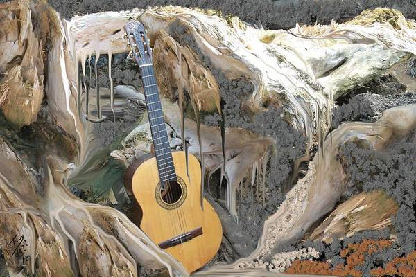 Guitar Art Print featuring the digital art Guitar Purgatory by Tony Rodriguez