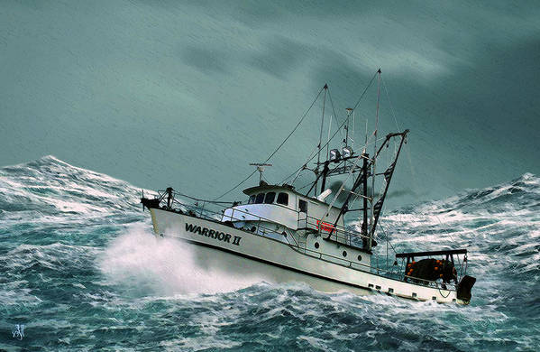 Fishing Vessel In A Rough Sea. Art Print featuring the digital art Heading for Shelter by John Helgeson
