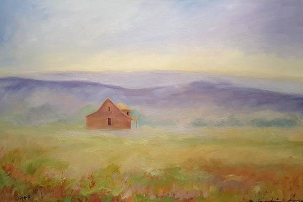 Old House In Landscape Art Print featuring the painting High Lonesome by Ginger Concepcion