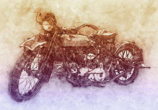 Indian Chief Art Print featuring the mixed media Indian Chief 2 - 1922 - Vintage Motorcycle Poster - Automotive Art by Studio Grafiikka