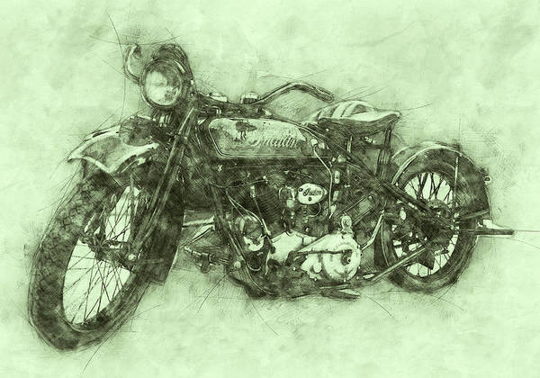 Indian Chief Art Print featuring the mixed media Indian Chief 3 - 1922 - Vintage Motorcycle Poster - Automotive Art by Studio Grafiikka