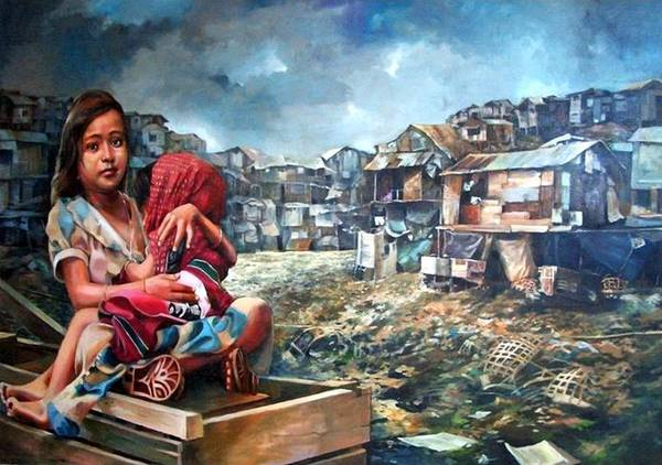 Poverty In Philippines Art Print featuring the painting Indigent Life by Bong Perez