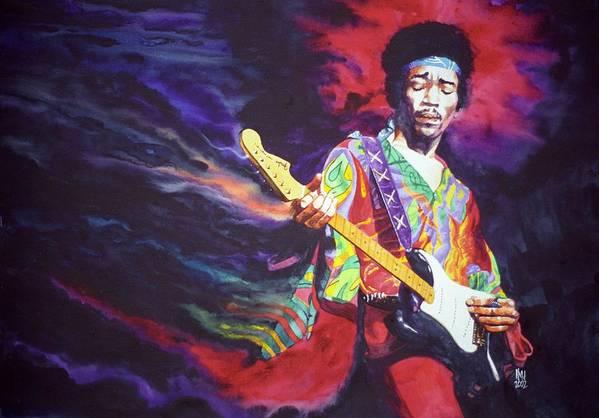 Guitarists Art Print featuring the painting Jimi Hendrix Dissolve by Ken Meyer jr