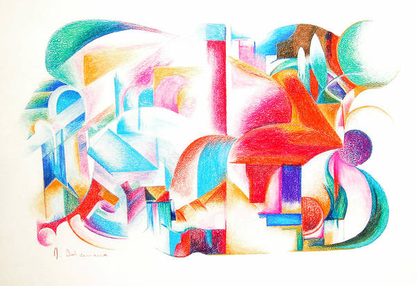 Abstract Art Print featuring the drawing Les Temps modernes by Muriel Dolemieux