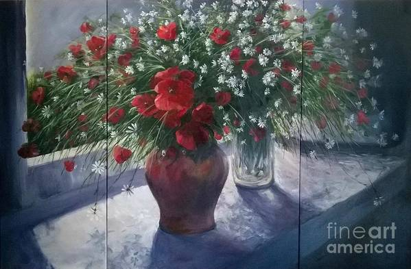 Remembrance Art Print featuring the painting Lest We Forget...triptych by Lizzy Forrester
