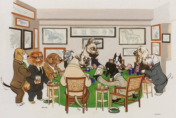 Poker Art Print featuring the painting Lexington Club by Constance Depler Coleman