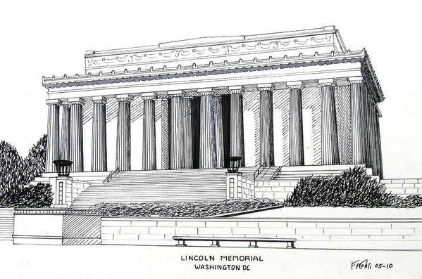Ink Drawings Art Print featuring the drawing Lincoln Memorial by Frederic Kohli