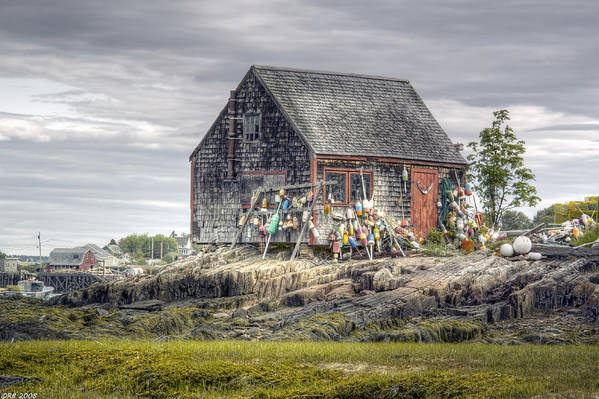 Architecture Art Print featuring the photograph Lobsterman's Shack of Mackerel Cove by Richard Bean