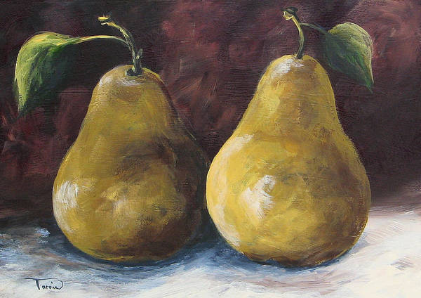 Pear Art Print featuring the painting Lucky Pears by Torrie Smiley
