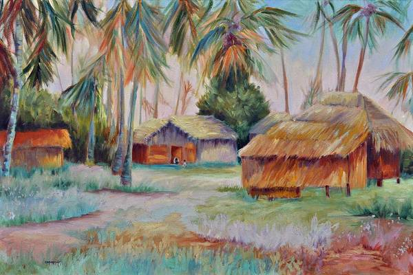 Mambasa Art Print featuring the painting Hut Village in Mambasa by Ginger Concepcion