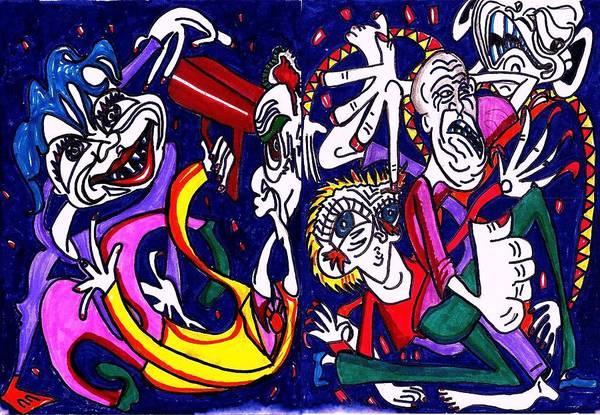 Blue Art Print featuring the drawing Mind slap by Richard Hubal