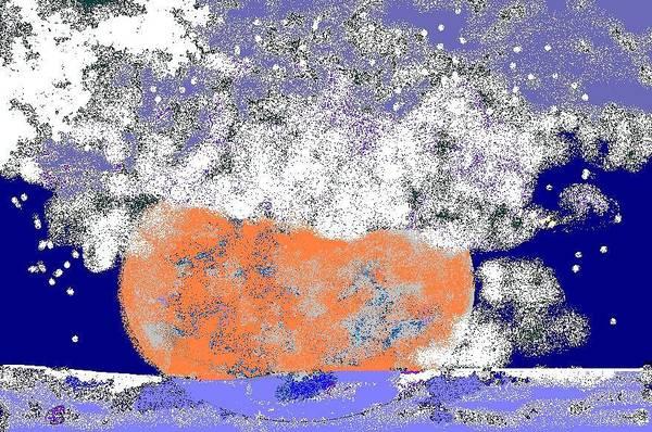 Art Print featuring the digital art Moon Sinks Into Ocean by Beebe Barksdale-Bruner
