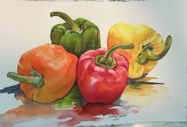 Watercolor Art Print featuring the painting More peppers by Diane Ziemski