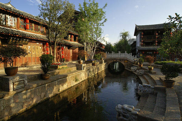 Asia Art Print featuring the photograph Morning Comes to Lijiang Ancient Town by Michele Burgess