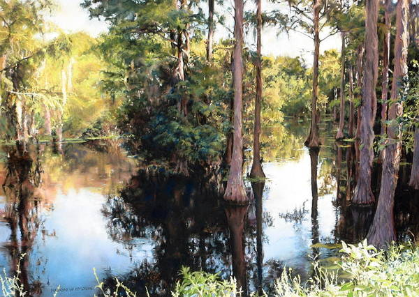 River Art Print featuring the painting Morning on the River by Marion Hylton