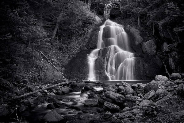 Moss Glen Falls Art Print featuring the photograph Moss Glen Falls - Monochrome by Stephen Stookey