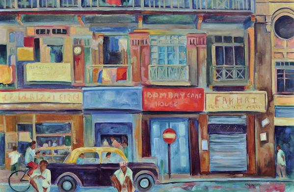 Mumbai Shops Art Print featuring the painting Mumbai Business District by Ginger Concepcion