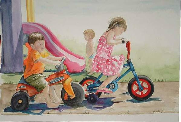 Watercolor Art Print featuring the painting My sisters grandkids by Diane Ziemski