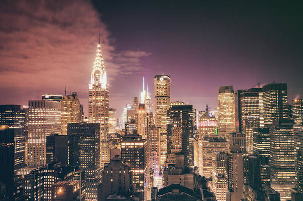 Chrysler Building Art Print featuring the photograph New York City Skyline - Night by Vivienne Gucwa