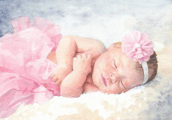 <a Href=http://miketheuer.com Target =_blank>www.miketheuer.com</a> Newborn Girl Asleep In A Tutu Watercolor Portrait Art Print featuring the drawing Newborn Girl Asleep In A Tutu by Mike Theuer