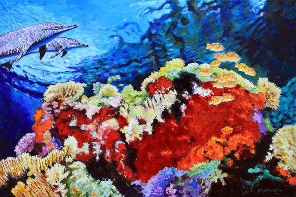 Dolphins Art Print featuring the painting Ocean Garden by John Lautermilch