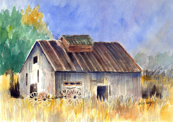 Barn Art Print featuring the painting Old Barn by Arline Wagner