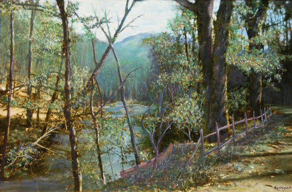 River; Trees; Landscape Art Print featuring the painting Old Man River by Ben Kiger
